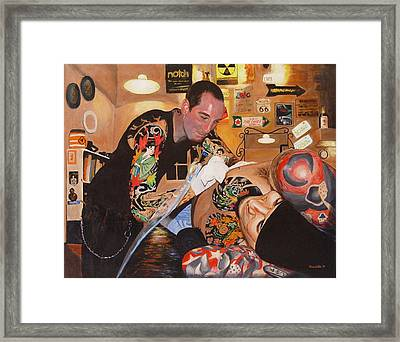 Framed Print featuring the painting Tattoo Artist by Quwatha Valentine