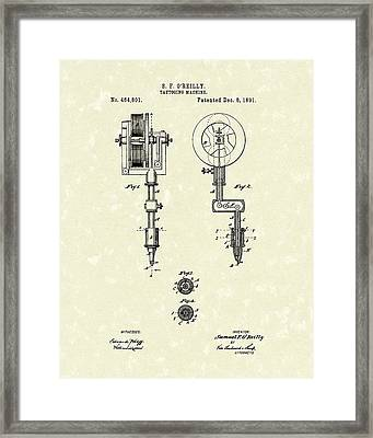 Tattoo Machine 1891 Patent Art Framed Print