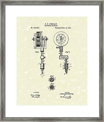 Tattoo Machine 1891 Patent Art Framed Print by Prior Art Design