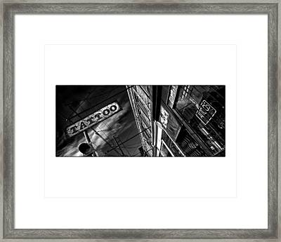 Tattoo Parlour On White Framed Print