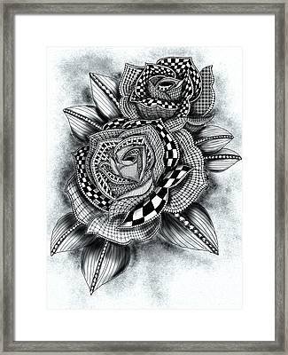Tattoo Rose Greyscale Framed Print