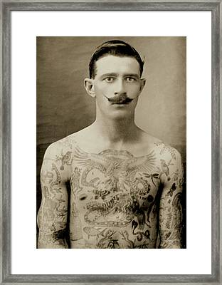 Tattooed British Sailor During The First World War Framed Print by English School