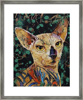Tattooed Sphynx Framed Print by Michael Creese