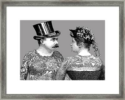 Tattooed Victorian Lovers Framed Print