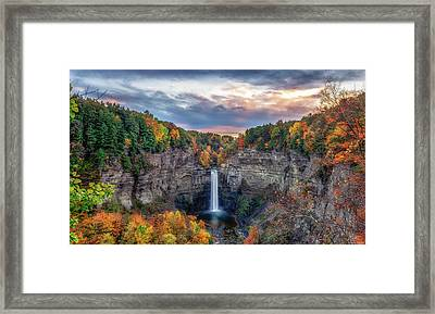 Taughannock Autumn Dusk Framed Print by Mark Papke