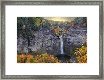 Taughannock Falls In Color Framed Print