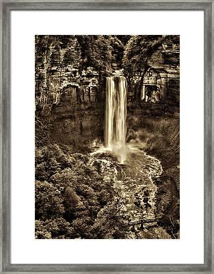 Taughannock Falls - Sepia Framed Print by Stephen Stookey