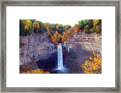 Taughannock Waterfalls In Autumn Framed Print by Paul Ge