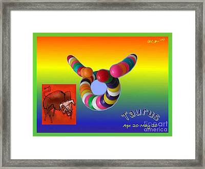 Framed Print featuring the painting Taurus by The Art of Alice Terrill