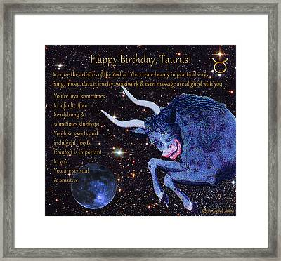 Taurus Birthday Zodiac Astrology Framed Print by Michele Avanti
