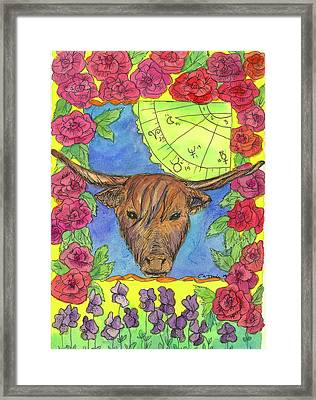 Framed Print featuring the painting Taurus by Cathie Richardson