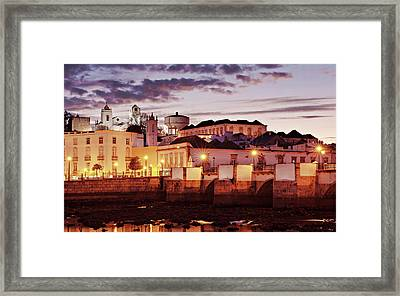 Framed Print featuring the photograph Tavira At Dusk - Portugal by Barry O Carroll