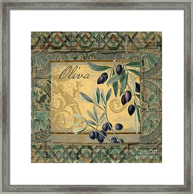Tavolo, Italian Table, Olives Framed Print by Mindy Sommers