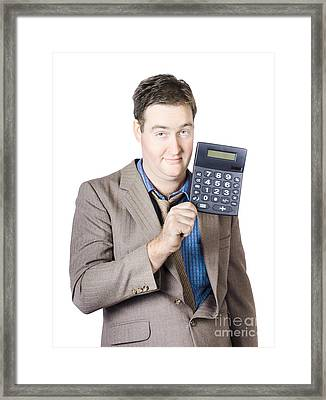 Tax Return Time. Accountant Man Holding Calculator Framed Print by Jorgo Photography - Wall Art Gallery
