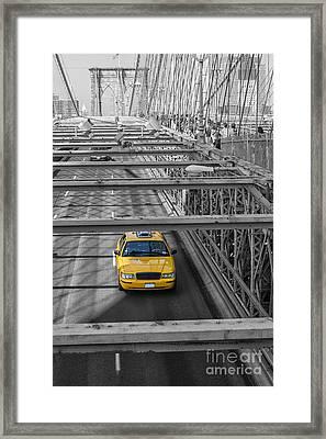 Taxi On The Brooklyn Bridge Framed Print