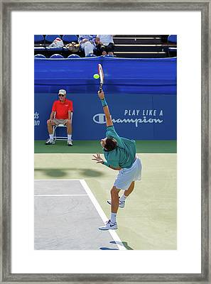 Taylor Fritz Plays In The Winston-salem Open. Framed Print by Bryan Pollard