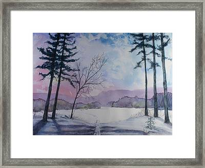 Framed Print featuring the painting Taylor Lake In Winter by Kim Fournier