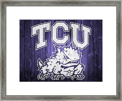 Tcu Barn Door Framed Print by Dan Sproul
