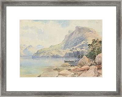 Te Anau Lake, N.z., 1866  , By Nicholas Chevalier Framed Print