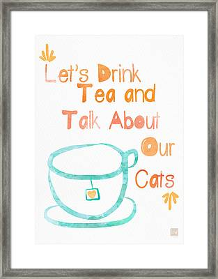 Tea And Cats Framed Print by Linda Woods