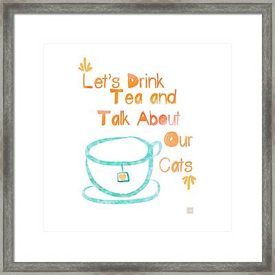 Tea And Cats Square Framed Print by Linda Woods