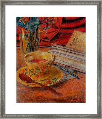 Tea And Diary Framed Print by Quwatha Valentine