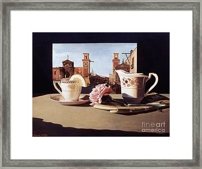 Tea And Venetian Landscape Framed Print by Daniel Montoya