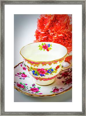 Tea Cup And Carnations Framed Print