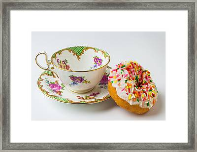 Tea Cup And Donut Framed Print