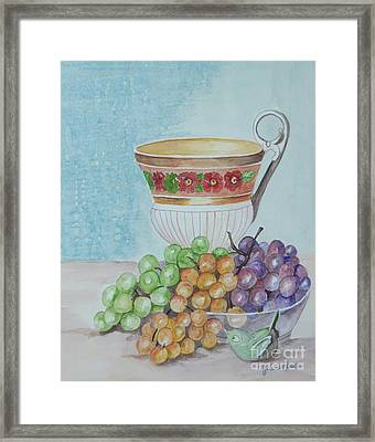 Tea Cup And Grapes Framed Print by Janna Columbus