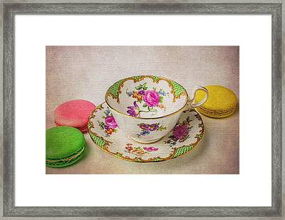 Tea Cup And Macaroons Framed Print