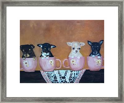 Tea Cup Chihuahuas Framed Print by Aleta Parks