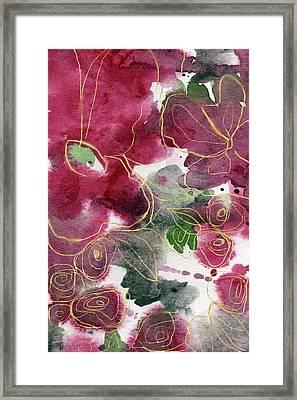 Tea Cup Roses- Art By Linda Woods Framed Print