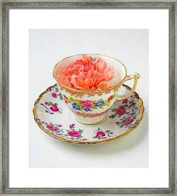 Tea Cup With Carnation Framed Print