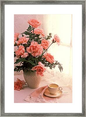 Tea Cup With Pink Carnations Framed Print