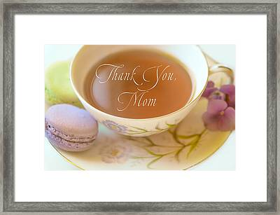 Teacup With The Words Thank You Mom Framed Print by Lynn Langmade