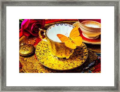 Tea Cup With Yellow Butterfly Framed Print