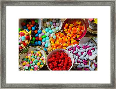 Tea Cups And Candy Framed Print