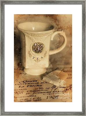 Tea Cups And Vintage Stains Framed Print