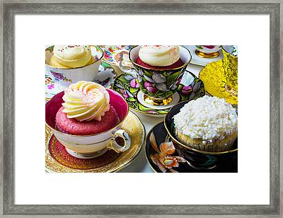 Tea Cups Full Of Cupcakes Framed Print