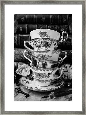 Tea Cups In Black And White Framed Print