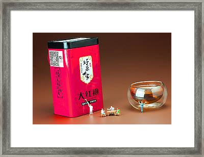 Framed Print featuring the photograph Tea Drinking In A Family Little People Big World by Paul Ge