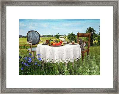Framed Print featuring the digital art Tea For Two by Jutta Maria Pusl