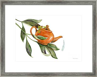 Tea Frog Framed Print by Amy Kirkpatrick