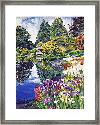 Tea House Lake Framed Print by David Lloyd Glover