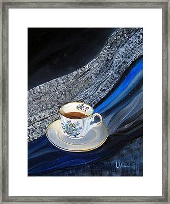 Tea, Lace, Silk, Linen Framed Print by LaVonne Hand
