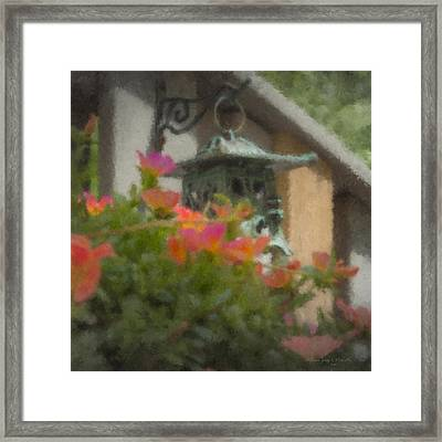 Tea Lantern And Portulaca Framed Print