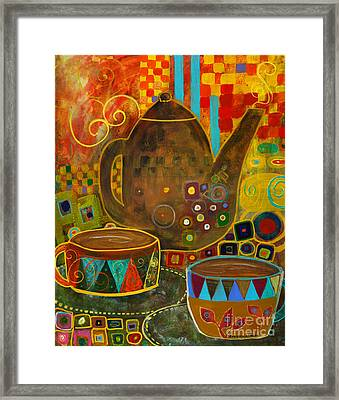Tea Party With Klimt Framed Print by Robin Maria Pedrero