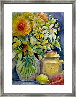 Tea Pot And Flowers Framed Print by KC Winters