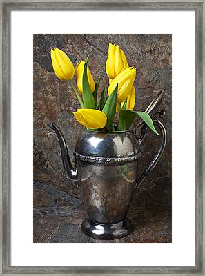 Tea Pot And Tulips Framed Print by Garry Gay
